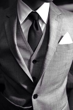Grey suit. Put a black Eldridge knot and some Gucci blacks on that and I'm going places