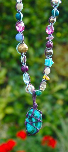 Chrysocolla-malachite macrame necklace, boho jewellery by TessHeaven on Etsy https://www.etsy.com/uk/listing/243001493/chrysocolla-malachite-macrame-necklace?ref=shop_home_active_1