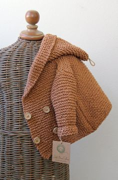 Hand knitted Handmade Baby Organic Cotton Sweater Coat Size 0-6 ...
