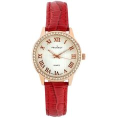 Peugeot Women's Crystal Leather Watch ($48) ❤ liked on Polyvore featuring jewelry, watches, red, leather wrist watch, buckle watches, peugeot watches, red crystal jewelry and leather jewelry