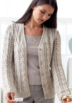 Beautiful lace and cable knit cardigan free pattern from Patons