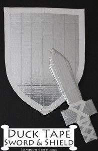 Duck Tape Sword and Shield - 30 Minute Crafts You are in the right place about easy crafts for boys Easy Crafts For Kids, Projects For Kids, Diy For Kids, Fun Crafts, Sword Craft For Kids, Creative Crafts, Preschool Crafts, Duct Tape Projects, Duck Tape Crafts