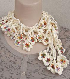 spring+croche | NEW SPRING FASHION Long beige crochet beaded necklace scarf . Fancy ...