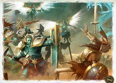 Stormcast Eternal Battletome Art - Warhammer Age of Sigmar Warhammer Aos, Warhammer Fantasy, Warhammer 40000, Dnd Elves, Stormcast Eternals, Age Of Sigmar, Fantasy Battle, Dnd Monsters, Knights Templar