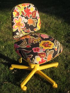 Not crazy over this color or fabric but I definitely need to redo my computer chair!