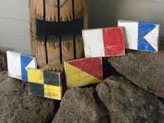 Wood nautical flag letters-ALOHA. $40.00, via Etsy.