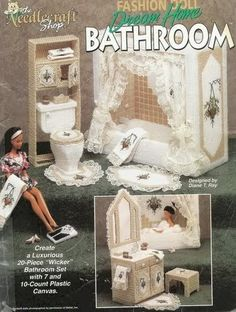 Expectacular baño para barbie en plastic canvas | labores de esther. todo para barbie