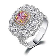 Inel pentru femei cu strasuri bicolore din zirconiu, model de lux