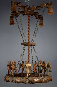 what a great black forest ceiling lamp with dancing and musical instruments playing figures