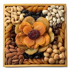 Great Gourmet Gift Tray, Dried Fruit and Nut Platter with Mosaic Flower Arrangement, Comes in Reusable Wooden Gift Tray, By Benevelo Gifts, ,