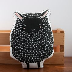 Handmade Black Sheep Pillow, Sheep Toy, Stuffed Animal, Baby Toy, Baby Lamb Pillow. $28.00, via Etsy.