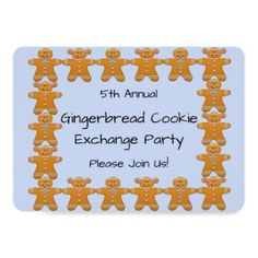 Gingerbread Cookie Exchange Party Invite - invitations personalize custom special event invitation idea style party card cards