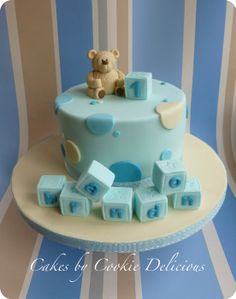 Baby Brandon's 1st Birthday Bear - by cookiedelicious @ CakesDecor.com - cake decorating website