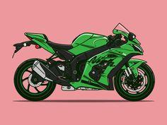 51 Motorcycle Illustration Drawing Ideas - New Kawasaki Ninja, Ninja Motorcycle, Motorcycle Birthday, Women Motorcycle, Motorcycle Helmets, Vintage Motorcycles For Sale, Bike Drawing, Bike Illustration, Zx 10r
