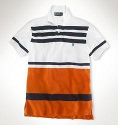 Men Classic Fit Multi Striped Polo White Orange multi