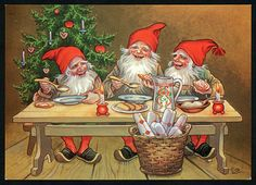 how happy they look after a hard day making presents. Scandinavian Gnomes, Scandinavian Christmas, Vintage Christmas Cards, Christmas Greetings, Norwegian Christmas, Elves And Fairies, Mythological Creatures, Christmas Gnome, Christmas Illustration