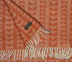 Burnt orange lambswool throw - 'Ziggurat'  handwoven by Madeleine Jude