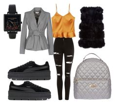"""Friday"" by madisonkiss on Polyvore featuring Topshop, MANGO, Patrizia Pepe, Olivia Burton, Puma and Love Moschino"