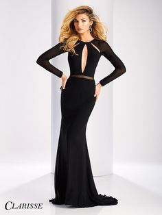 Clarisse Prom 3107 Black Long Sleeved Open Back Prom Dress