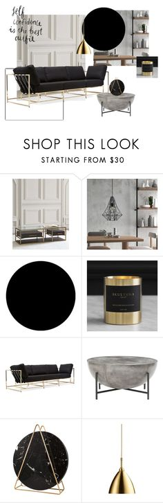 """""""black and gold"""" by zubrovskayaliza on Polyvore featuring interior, interiors, interior design, дом, home decor, interior decorating, Hooker Furniture, Wall Pops!, Skultuna и Stephen Kenn"""