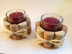Recycled Wine Cork Candle Holder with Scented Votives  Find it here: https://www.etsy.com/listing/167700123/recycled-wine-cork-candle-holder-set?