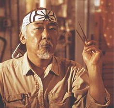 Mr Miyagi (Pat Morita) from The Karate Kid taught me how to wax off! Miyagi, The Karate Kid 1984, Karate Kid Cobra Kai, Radios, Claude Van Damme, Ralph Macchio, Hollywood, We Are The World, Movie Characters