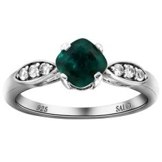 Amazon.com: Sterling Silver Created Emerald and Created White Sapphire Ring, Size 7: Jewelry