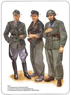 """Lotta per la Liberazione - 1. R.S.I. - Guardiamarina, X Divisione MAS - 2. Esercito di Liberazione - Colonnello di Fanteria - 3. R.S.I. Comandante di Plotone, Brigata Nera """"Aldo Resega"""""""