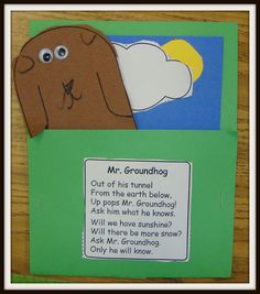 "Cute Groundhog' Day craft and poem from ""Today in First Grade..."""