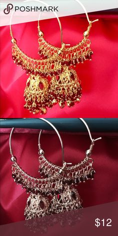 Bollywood Style Gold and Maroon Earring Indian rule hoops in gold and maroon with ghungroos (bells) on the bottom. A little on heavy side. Jewelry Earrings