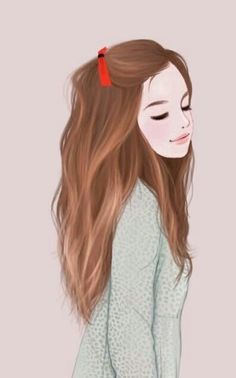 Beautiful Illustration Pretty Girl With Soft Brown Hair