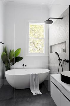 Home Interior Decoration Modern Scandinavian bathroom interior in black and white.Home Interior Decoration Modern Scandinavian bathroom interior in black and white Laundry In Bathroom, Bathroom Inspo, Paint Bathroom, Bathroom Small, Cozy Bathroom, Bathroom Plants, Laundry Rooms, Bathroom Wall Tiles, Bathroom Storage