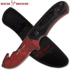 Red Deer Hunting Knife with Gut Hook and Nylon Sheath  825 Inches Overall Length  Wooden Handle  Full Tang  High Carbon Steel Blade  Red Camo * You can get more details by clicking on the image.