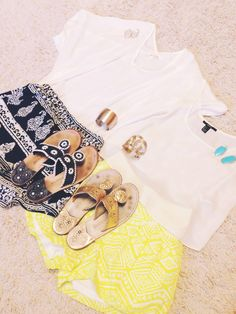 Spring outfit ideas   Shorts- Francesca's Sandals- jack rogers  Bracelets- Francesca's Earrings- Kendra Scott
