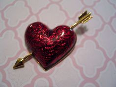 Signed Avon Heart with Bow Figural Pin Brooch Scrolled Motif Cherry Red Enamel #avon