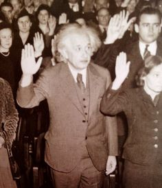 Albert Einstein becoming an American Citizen in He was visiting the United States when Adolf Hitler came to power in 1933 and, being Jewish, did not go back to Germany, where he had been a professor at the Berlin Academy of Sciences. History Facts, World History, World War Ii, Disney Marvel, Becoming An American Citizen, Georgie, Prix Nobel, E Mc2, New Jersey