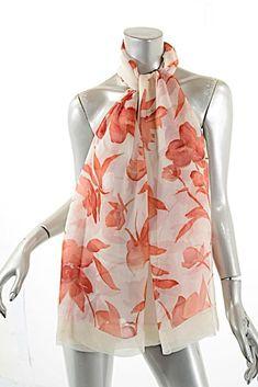 46efa5040d SONIA RYKIEL Paris Ivory Red 100% Silk Chiffon Floral Oblong Scarf 71