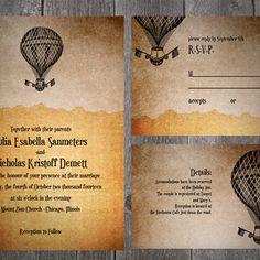 balloon steam punk antique vintage dark up victorian fantasy goth digital diy PRINTABLE WEDDING INVITATION suite