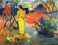 Paul Gauguin - Post Impressionism - Tahiti - Tu attends une lettre? 1899