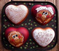 Gingerbread Handpainted Heart Muffin Tin Boy by PaintingByEileen, $18.00
