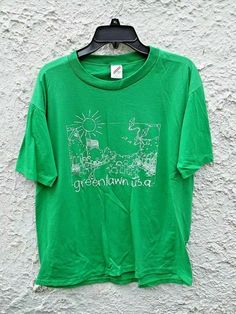 Vintage Greenlawn USA T Shirt Jerzees Tag Made in USA Polycotton Green by Fchoicevintage on Etsy Katie Roberts, College Shirts, Usa Shirt, Cool Shirts, Vintage Men, Trending Outfits, Mens Tops, Clothes, Shopping