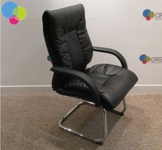 Black Leather Meeting Chair Net Price Chrome cantilever leg Fixed black armrests Padded seat and back Curved back Buy Used Furniture, Office Furniture, Used Chairs, Two Hands, Chrome, Black Leather, Stuff To Buy, Home Decor, Business Furniture