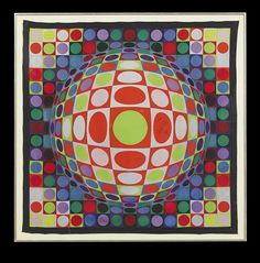 "Auction Result for ""silk scarf"" (1969) by Victor Vasarely 