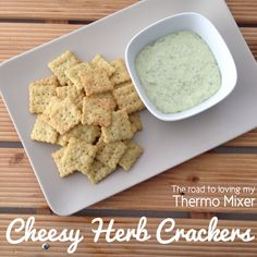 Cheesy herb crackers plain flour 1 tablespoon of dried mixed herbs 1 teas garlic powder, optional cold butter, cubed parmesan cheese, cubed grated cheddar or similar cheese 1 teas salt 1 - 2 tablespoons of cold water Savory Snacks, Snack Recipes, Cooking Recipes, Bread Recipes, Thermomix Bread, Savoury Biscuits, Cheddar Biscuits, Bellini Recipe, Homemade Crackers