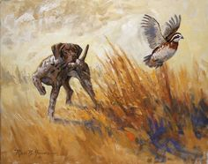 Intense - German Shorthaired Pointer and Quail painting