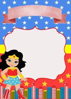 Te invito a festejar mi cumpleaños 4 Wonder Woman Birthday, Wonder Woman Party, Birthday Woman, Dragon Birthday Parties, Minion Birthday, Superhero Birthday Party, Anniversaire Wonder Woman, Wonder Woman Pictures, Unisex Baby Shower