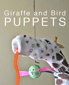Giraffe and Bird puppets for Don't Laugh at Giraffe-themed birthday party