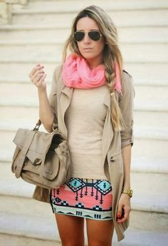 The Combination of Beige Raincoat with Sport, Stylish Handbag, Pink Circle Scarf, Shirt and Cute, Colorful, Mini Fashionable Skirt
