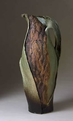 """Organic Vessel 1  Debbie Englund - so beautiful, I love the green and the """"bark""""."""