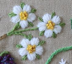 White flowers with lots of dimension and texture.  Really noticeable on the tan fabric.  The Floss Box: Little White Flowers